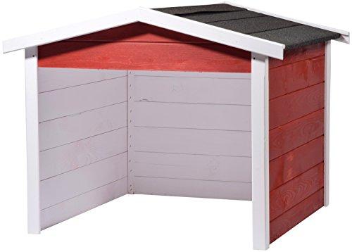 dobar 56199e Mähroboter-Garage aus Holz, Rasenroboter-Carport, 87x80x70 cm, rot-weiß-anthrazit