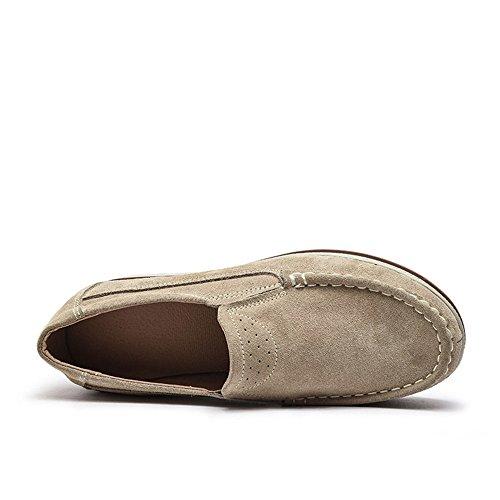 NEOKER Mocassini Donna in Pelle Scamosciata Moda Comode Loafers Scarpe da Guida Ginnastica con Zeppa 5 cm Estivi Nero Blu Cachi 35-42 Cachi