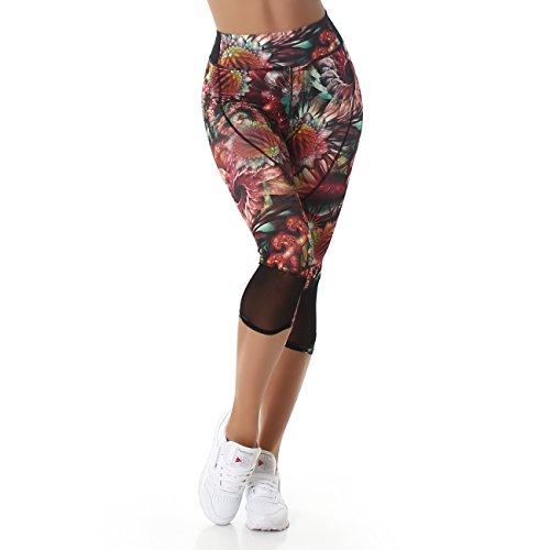 Jela London Damen Capri Leggings (3/4 Länge, High-Waist) Sommerhose bunt gemustert (Floral) - 3
