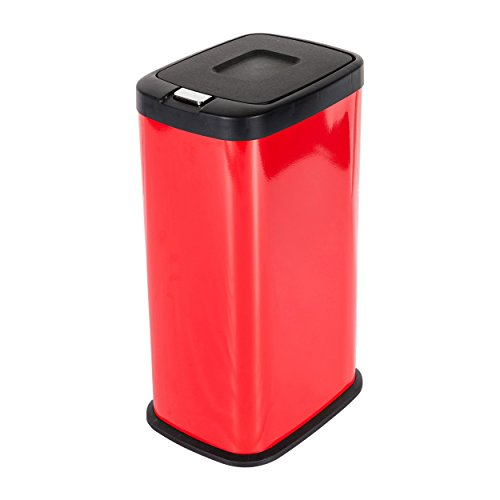 Price comparison product image Mari Home - Glossy Red 38 Litre Stainless Steel Push-Lid Touch Recycle Bin Dustbin Recycling Inner Compartment Section Garbage Kitchen Eco Waste Trash Can