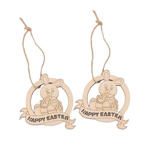 10pz Laser Tagliato Felice Pasqua Coniglio In Legno Tag Abbellimento Con Stringa