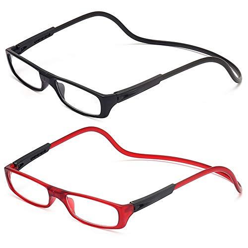 2 Stueck Lesebrille Lesehilfe für Herren und Damen +1.5 (50-54 Jahre) Faltbare Einstellbare mit Magnetverschluss und Clip für Alterssichtigkeit und Presbyopie (Schwarz + Rot)