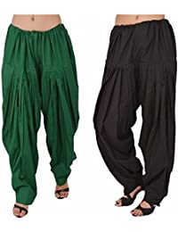 Fashion Store Women Cotton Patiala Salwar Combo Of 2(Free Size, Black & Green)
