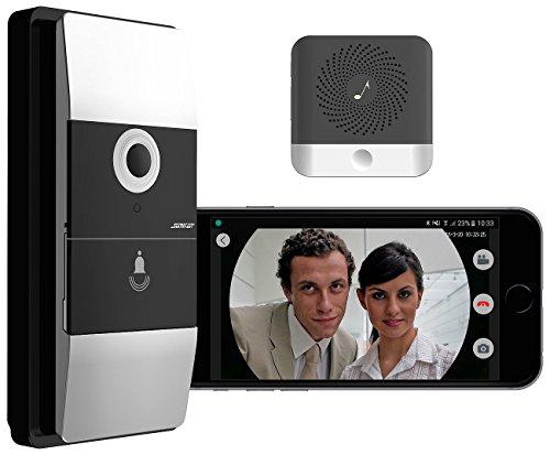Somikon Klingel App: WLAN-Video-Türklingel mit App, Klingelempfänger, 180° Bildwinkel, Akku (Klingel mit Kamera WLAN) -