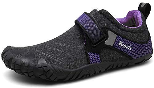Voovix Barfußschuhe Herren Damen Outdoor Fitnessschuhe Traillaufschuhe rutschfeste Laufschuhe(Schwarz/violett,42)