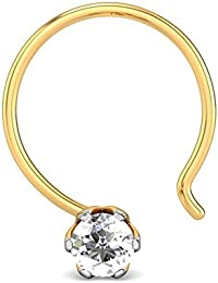 Candere By Kalyan Jewellers 18K (750) Yellow Gold and Diamond Hita Nose Pin
