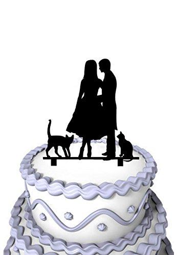 Mei Jia Fei Brautigam Flustern in der Braut Ohr mit 2 Katzen Silhouette Hochzeit Topper