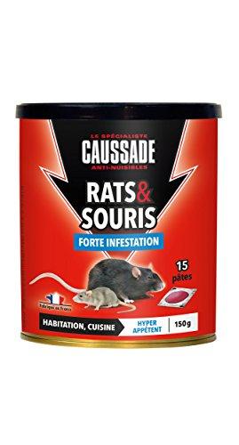 Caussade CARSPT150 Rats & Souris - 15 Pâte Appât prêt à l'emploi -Habitation et Cuisine | Forte Infestation