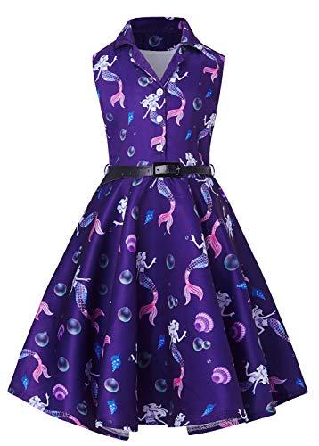 RAISEVERN Mädchen Tee Kleider Umlegekragen Vintage Retro 1950er Jahre Schaukel ausgestellt Rockabilly ärmellose Floral Party Midi Plissee Kleid Meerjungfrau lila - Gürtel Schaukel Baby