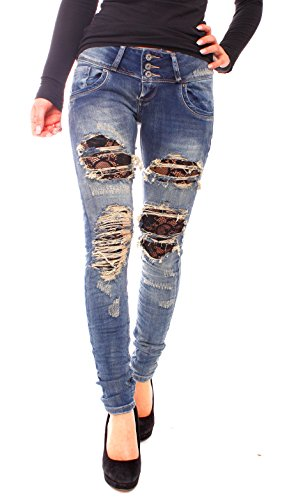 Easy Young Fashion Damen Skinny Destroyed Röhren Fetzen Jeans Hose Vintagejeans blau 3 Knopf S - 36