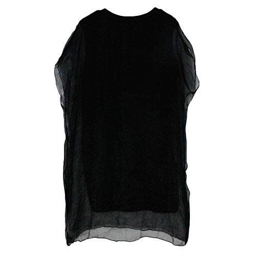 West See Damen Sommer 3D Print MInikleid Casual Lang GroßeTshirt Tunika Tops Blusenkleid Ärmellos Schwarz Weiß Schwarz