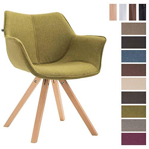 Clp sedia design soggiorno zack in tessuto – poltroncina moderna scandinavoa in legno di faggio i sedia salotto imbottita con braccioli i poltrona deco, seduta 45cm verde natura