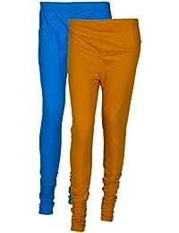 LOOTAS WOMEN'S COTTON LYCRA SKY BLUE & GOLDEN YELLOW COLOURS COMBO CHURIDAR & FULL LENGTH LEGGINGS(PACK OF 2)-...