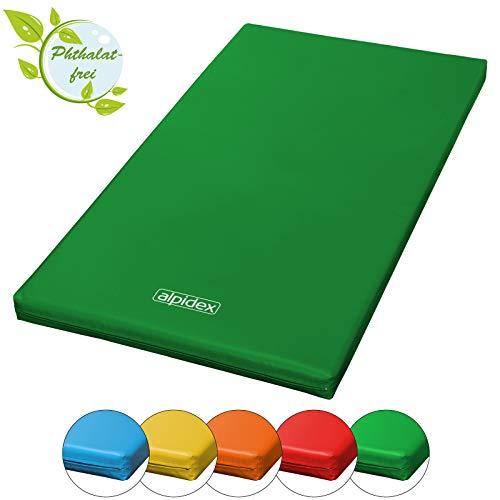 ALPIDEX Matte Turnmatte Sportmatte Gymnastikmatte 200 x 100 x 8 cm mit Antirutschboden RG 20 (sehr weich), Farbe:dunkelgrün