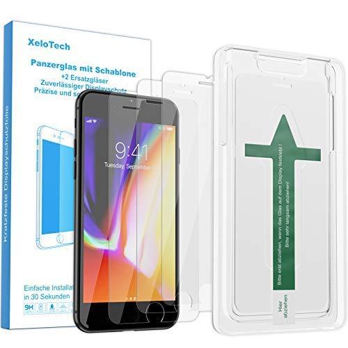 XeloTech Premium Panzerglas Folie [3 Stück] für iPhone 8 Plus, 7 Plus, 6s Plus & 6 Plus mit Schablone zur Positionierung - Displayschutzfolie aus 9H Glas - Mit Handy Hülle kompatible Schutzfolie