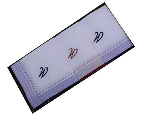 3 Stück Herren-Monogrammtaschentücher mit farbigen Satinkanten, freie Monogrammwahl (W)