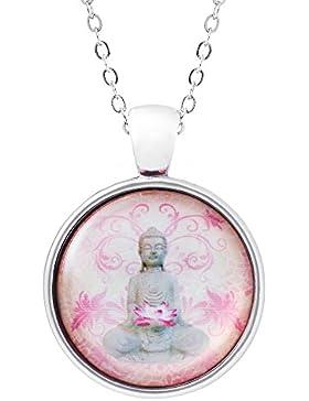 Klimisy - Buddha mit Lotusblume Kette mit Anhänger - Yoga Amulett - elegante Zen Halskette mit rosa Medaillon...
