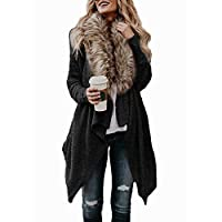 Winter Warm Soft Rabbit Fur Cardigan Coat Shaggy Jacket Irregular Loose Female Overcoat Autumn Winter Hairy Outwear (Color : Black, Size : XXL)