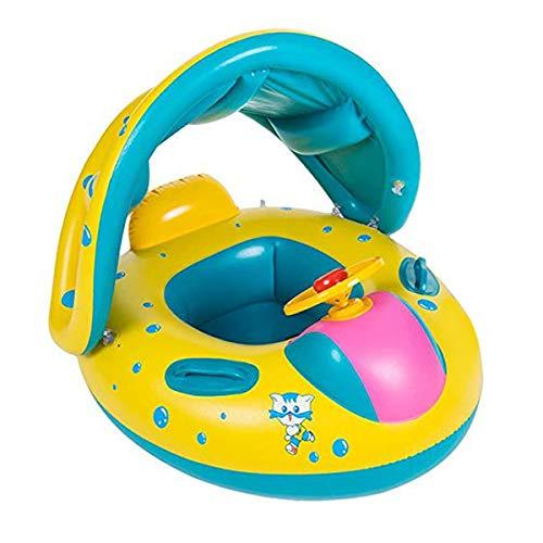 Wishliker Barca per Bebè gonfiabili,Piscina Baby Salvagente Bambini Float con Parasole(1-3 Anni )