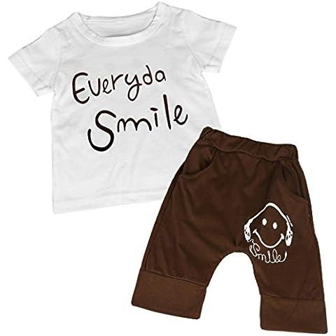 Clode® Bambini Estate i Vestiti di Cotone Smiley Maglietta Stampate Set Pantaloni del Pigiama