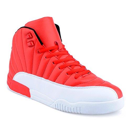Herren Sportschuhe High Top Sneaker Mehrfarbig Basketball Nieten Freizeit Schuhe Rot/Weiss EU 42 (Weiß Schuhe Jordan)