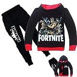 JHion Unisex Fortnite Kapuzenpullover Fortnite 3D Gedruckt Sweatshirt mit Kapuze und Hosen-Sets für Jungen und Mädchen Schwarz 140cm