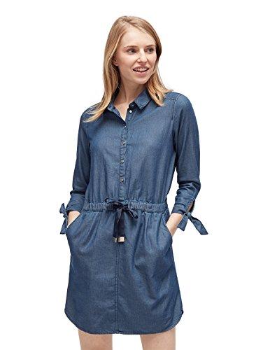 TOM TAILOR DENIM für Frauen Kleider & Jumpsuits Jeanskleid mit Taillenbund dark stone wash denim L