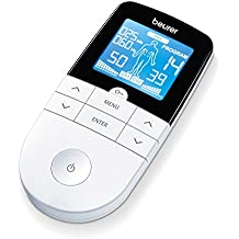 Beurer EM-49 - Electroestimulador digital, 3 en 1, pantalla LCD, 4 electrodos autoadhesivos