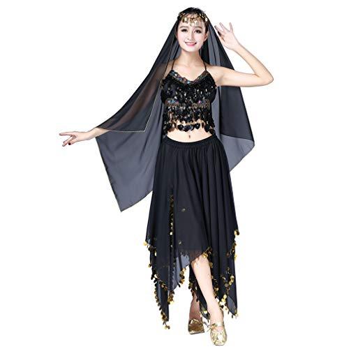 Magogo Bauchtanz-Kostüme 3-teiliges Kit für Frauen, Top + Rock + Schleier mit Headchain, Indian Dance Performance Dresses ()