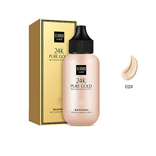Ofanyia 24K Gold Liquid Foundation Cover Blemishes Moisturizing Brightening Skin Natural Concealer Foundation Makeup -