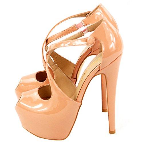 ENMAYER Damen PU Material Gebunden Frauen Schuhe High Heels Peep Toe Sommer Pumpen Schuhe Frau Nackt