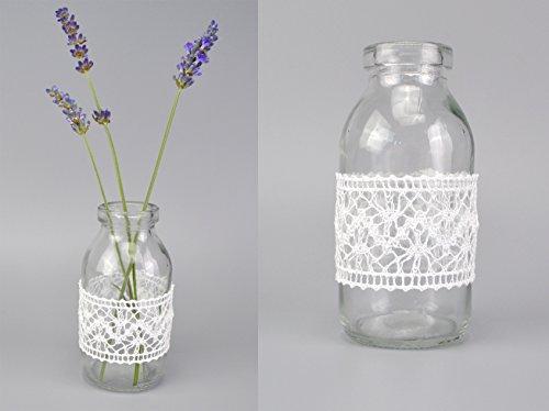 mit Spitze Weiss (2,08€/Stück) Glasflaschen fertig dekoriert 10,5 cm Landhaus Vintage kleine Dekoflaschen mit Spitzenband Taufe Hochzeit Deko Vase ()
