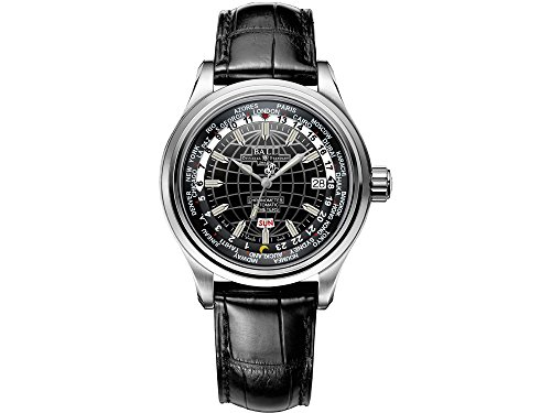 Ball Trainmaster Worldtime Watch, RR1501, Black, Crocodile, COSC, Foldover clasp