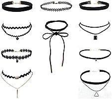 Yistu Lot de 10 Collier ras du cou Ensemble Étendue Velours Classique gothique Tatouage Choker dentelle