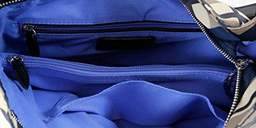 Beuteltasche von Waipuna aus hochwertigem Nylon mit Schlüsselanhänger Karo blue / black