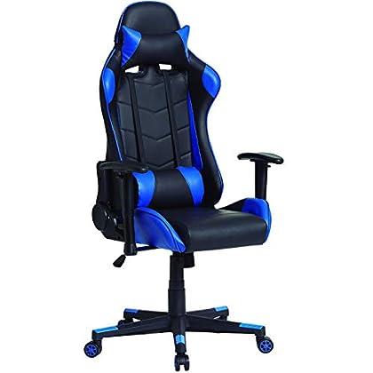 VS Venta-stock Sillón de Oficina Gaming Racer Profesional Azul, Silla con Reposacabeza Apoyo y Cojín Lumbar (Piel sintética, inclinación y Altura Regulable, reposabrazos Ajustables, reclinable 180º)