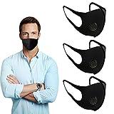 3 maschere anti-polvere per viso e bocca, alla moda, riutilizzabili, lavabili, unisex, nero