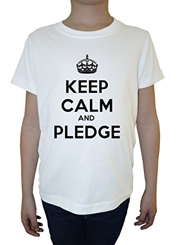 keep-calm-and-pledge-blanco-algodon-nino-ninos-camiseta-manga-corta-cuello-redondo-mangas-white-boys