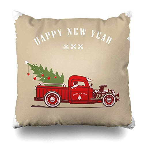 Throw Pillows Covers Car Christmas Truck Side View Color in Graphic Holidays Vintage Race Auto Automobile Classic Design Home Decor Pillowcase Square Size 18 x 18 Inches Cushion Case (Halloween Vintage Holiday Graphics)