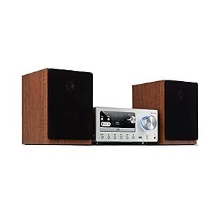 auna Connect HiFi System Stereoanlage • Musikanlage • Kompakt-Anlage • Internet/DAB+/ FM Radio • 80 W max. • CD-Player • USB • Bluetooth • Spotify Connect • Infrarot-Fernbedienung • Silber