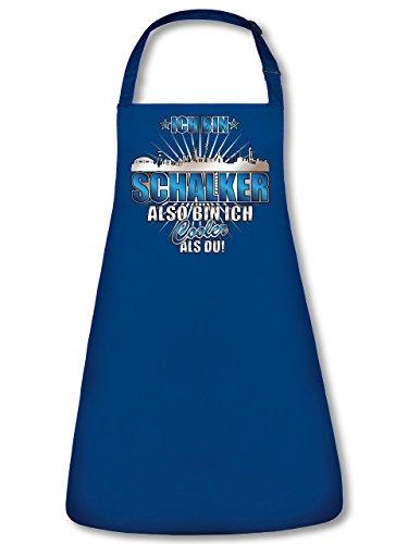 Schalke Ich bin Schalker also bin ich cooler als du 4619 Fussball Fan Unisex Grillschürze Kochschürze Latzschürze Küchenschürze Blau