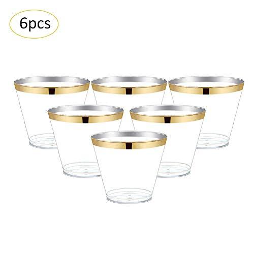 Desechables plastikschale, transparente vino desechables plastikschale tipos de cuenco helado taza para Partido, Hogar, memoria, 6pieza (270ml) dorado