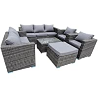 YAKOE 8 Seater Conservatory Rattan Garden Furniture Sofa Table Stool Chairs Set - Grey Rattan