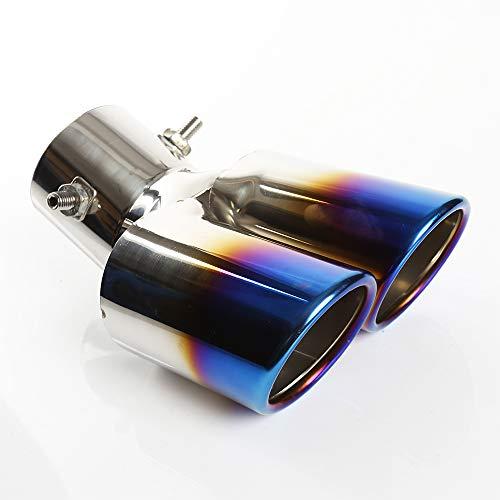 62mm Tubo de Escape del Coche Silenciador de Acero Inoxidable Doble Salida Oblicua Tubo de Extremo Azul de Pintura