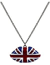 afc1d2ced6 Fengteng Bandera británica Labios Esmalte Colgante Collar con cadena de ...