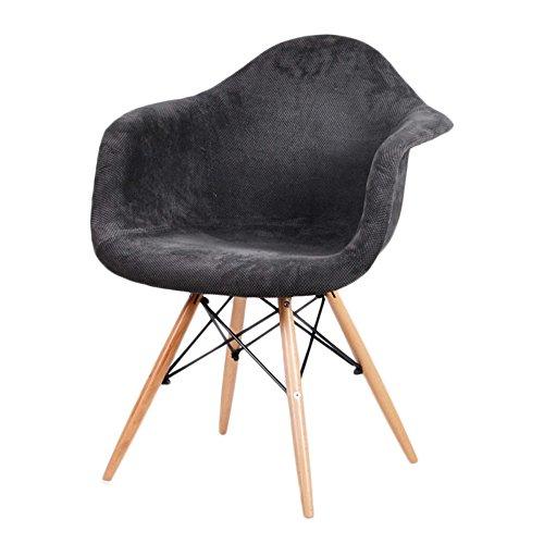 Nordic Wool (G-Y Lazy Sofa, Nordic Massivholz Einzelsitz Sofa, Kaffeestuhl, Balkon Lounge Chair (Farbe : Cotton Wool Black.))