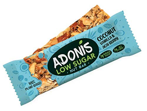 Adonis Low Sugar Vanille Snack Nuss Riegel | 100% Natural, Low Carb, Glutenfrei, Vegan, Paleo (5) -