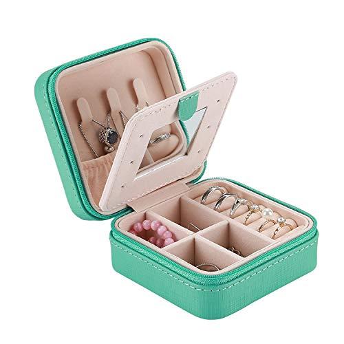 Procase scatole portagioie gioielli donna da viaggio, porta gioielli piccolo da viaggio organizer gioielli con specchio per anelli orecchini collane bracciali(10 x 10 x 5 cm) -turchese