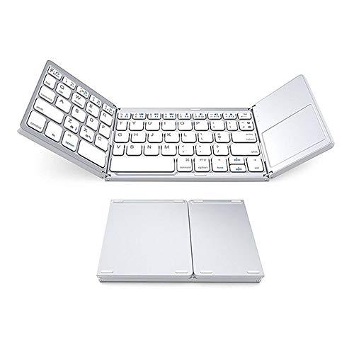 CITW Tragbare faltende Bluetooth 2.4G drahtlose Tastatur-Aluminiumlegierung Faltbare Mini dünne Tastatur für iOS/Android / Windows/PC / Tablette,White