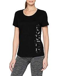adidas AOP Linear Camiseta, Mujer, Negro, Extra-Large